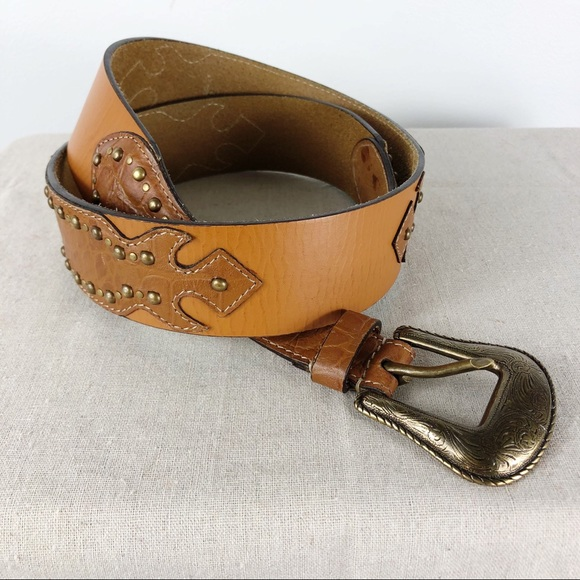 Chico's Accessories - Chico's Brown Tan Leather Stud Croc Embossed Belt